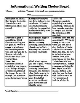 Informational Writing- Choice Board