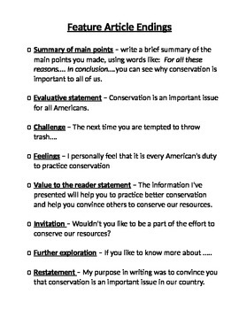 Informational Writing (EX Intros and Endings)