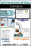 Informational Writing: Editable Presentation, Article Project, & Much More!
