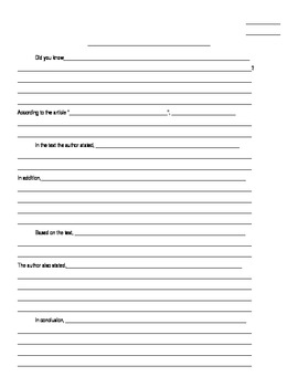 Informational Writing Graphic Organizer for Five Paragraph Essays