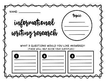 Informational Writing Graphic Organizer for Research