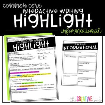 Informational Writing Interactive Highlight