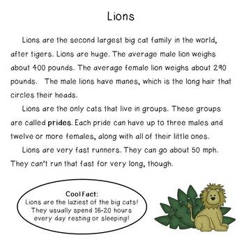 Nonfiction Reading and Writing: Lions