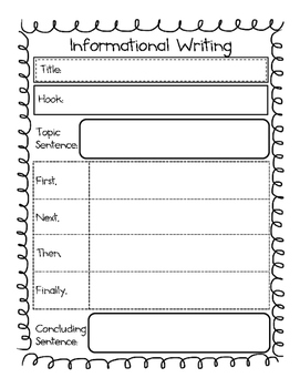 Informational Writing Organizer, Transition Words & Paper
