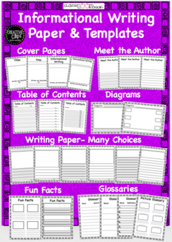 Informational Writing Paper and Templates- Primary and Intermediate