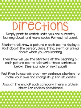 Informational Writing Prompts (Print and Go) Over 75!