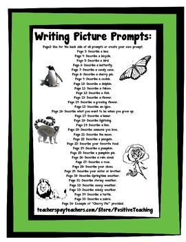 Writing Picture Prompts - Visuals - Writing Prompts - Informative Genre