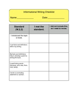 Informational Writing Revising Checklist