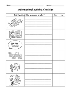 Informational Writing Student Checklist