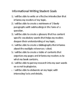 Informational Writing TC/SchoolWide 5th Grade Student Unit Goals