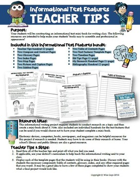 Informational Writing Template Pages
