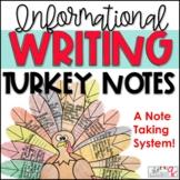 "Informational Writing Unit- ""Turkey Notes!"""