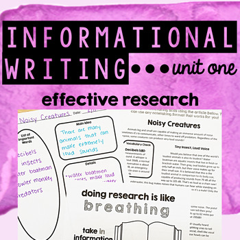 Informational Writing - Unit One - Effective Research