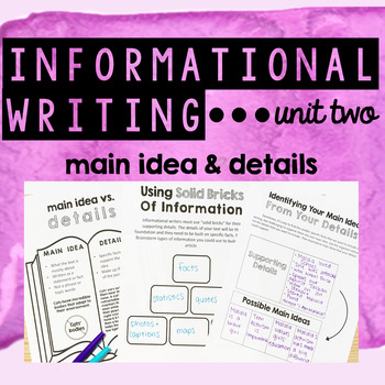 Informational Writing - Unit Two - Main Ideas and Details
