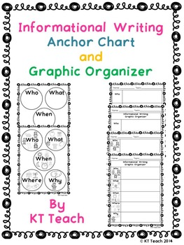 """Informational Writing """"WH"""" Anchor Chart and Graphic Organizers"""
