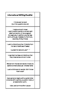 Informational and Opinion Writing Checklists