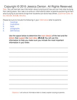Informational Letter Writing– Bullying