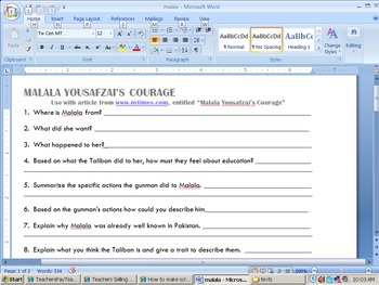 Informational text questions - Malala Yousafzai