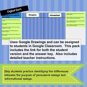 Informational vs. Persuasive Writing DIGITAL SORT