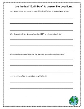 Informative Earth Day Text with Comprehension Questions