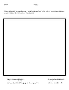 Informative Essay, Body Paragraph Organizer
