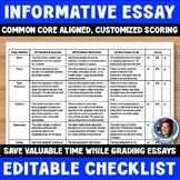 Informative Essay Editable Checklist: Makes Grading Easy and Efficient!