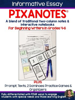 Informative Essay Pixanotes™ (Differentiated Picture Notes) +Dominoes Game