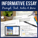 Informative Essay Unit (Text Based) for Grades 7-9 with Pi