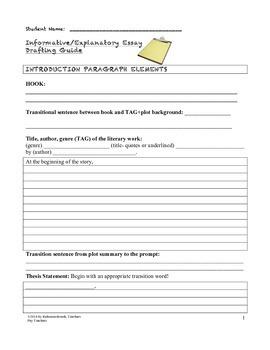 Informative Explanatory Essay Writing Template (Common Core)