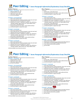 Informative/Explanatory Writing Peer Editing Checklist CCSS Aligned for 6-12