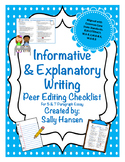 Informative/Explanatory Writing Peer Editing Checklist CCS