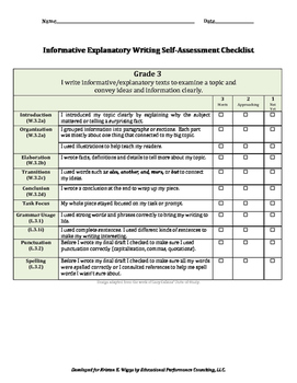 Informative/Explanatory Text-Based Writing Rubric and Checklist for 3rd Grade