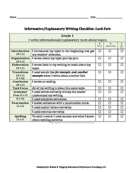 Informative/Explanatory Text-Based Writing Rubric and Look Fors for 1st Grade