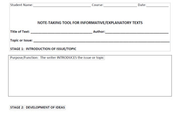 Informative/Explanatory Text Note-Taking Tool