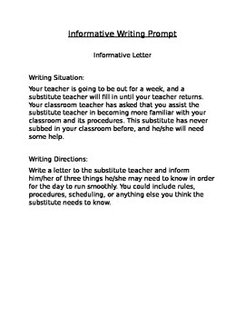 Informative Letter Prompt and Graphic Organizer