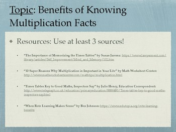 Informative Math Essay: Essay Topic 1 - Importance of Multiplication Facts