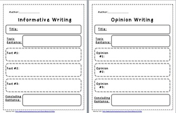 Informative & Opinion Writing Graphic Organizer