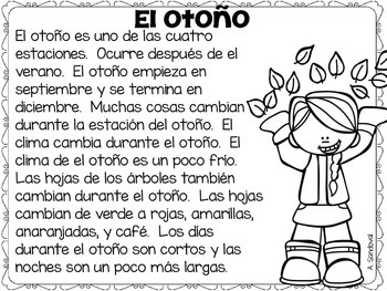 Textos informativos otoño Fall Informative PASSAGES (Close Reading) in Spanish