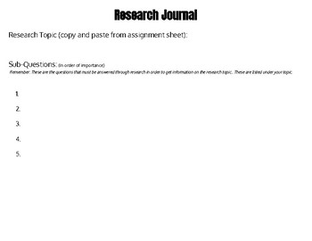 Informative Presentation: Planning Organizer and Research Journal