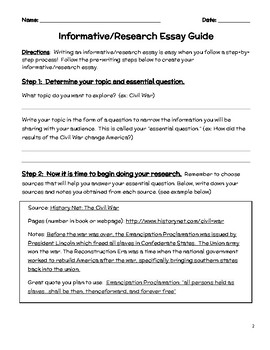 Step-by-Step Informative/ Research Essay Guide