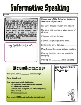 Informative Speaking Handout and Graphic Organizer