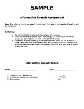 Informative Speech Assignment and Rubric
