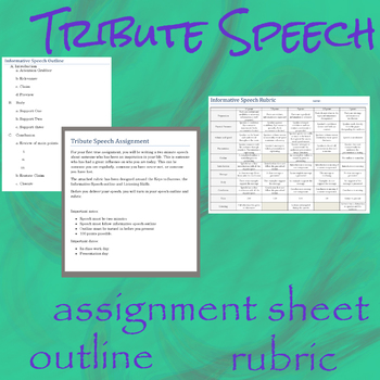 Informative Speech Outline and Rubric