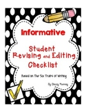 Informative Student Revising and Editing Checklist (6 Traits)