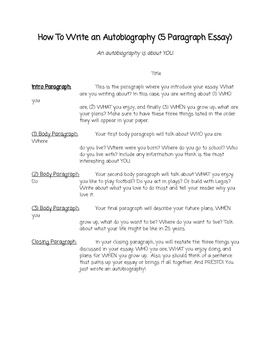 Informative Template - How To Write an Autobiography (5 Para. Essay)