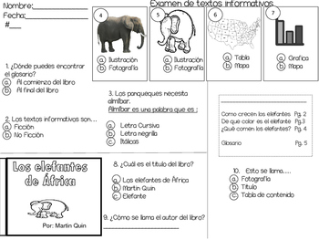 Text features Spanish