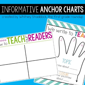 Informative Writing Anchor Charts for 1st Grade