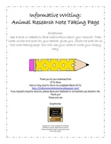 Informative Writing Animal Research Note Taking Page--Common Core Aligned