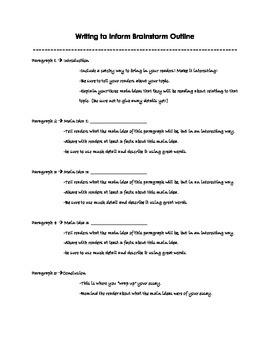 Informative Writing Brainstorming Process