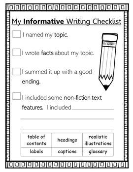 1st Grade Informative Writing Checklist (standards-aligned)